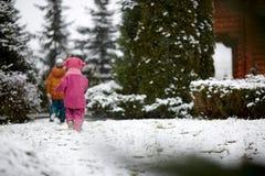 d5aa912b0316 Little Boy Walking On Snow. Kid Boy Walking Along The Road With ...