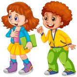 Two children white background. Illustration royalty free illustration