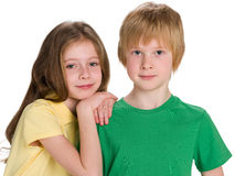 Two children on the white background Stock Images