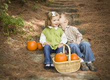 Two Children on Wood Steps with Pumpkins Whisperi Stock Image