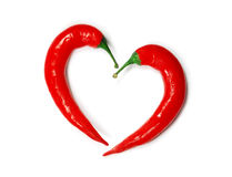 Two chili peppers forming a shape of heart Stock Image