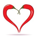Two chili peppers forming a shape of heart. Hot lover symbol. stock illustration