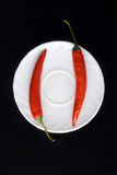 Two chili peppers on the plate Royalty Free Stock Photo