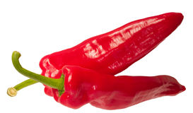 Two chilli peppers. Chilli peppers over a white background Stock Photography