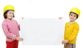 Two chilredn with banner Royalty Free Stock Image