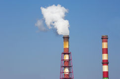 Two chimneys. Each State must reduce levels of carbon dioxide Stock Images
