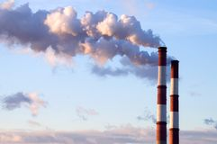 Two chimneys horiz. Two chimneys of a power plant Royalty Free Stock Photography
