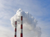Two chimneys pollution air Royalty Free Stock Photo