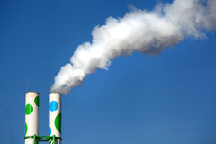 Two chimneys with smoke Stock Photo