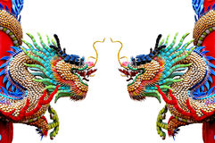 Two chinease dragons statue on white. Background in Chiangmai, Thailand Royalty Free Stock Images