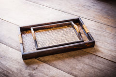 Two Chinese bamboo woven tray Royalty Free Stock Photo