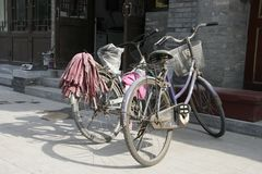 Two Chinese bicycles Royalty Free Stock Photography