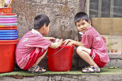 Two Chinese boys Royalty Free Stock Image