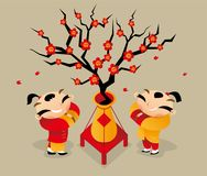 Two Chinese boys greet each other to celebrate Chinese New Year coming. Vector illustrationof two Chinese boys greet each other to celebrate Chinese New Year Stock Photography