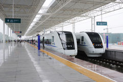 Two Chinese CRH fast trains Stock Photography