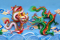 Two chinese dragon statue Stock Photography