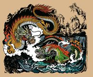 Two Chinese dragons in the landscape stock images