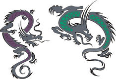 Two chinese dragons. Set of two oriental chinese dragons. Vector illustrations Stock Photos