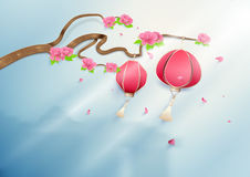 Two chinese lanterns hanging on floral branch pink peonies. Chinese lanterns hanging on floral branch pink peonies with silhouette chinese town Stock Photo