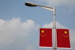 Two chinese national flags Stock Photos