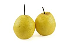 Two chinese pear. Isolated on white background Royalty Free Stock Photography