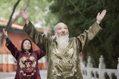 Two Chinese People Practicing Tai Ji Royalty Free Stock Photos