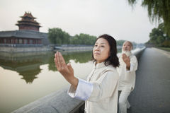 Two Chinese People Practicing Tai Ji by the Canal, Beijing Stock Image