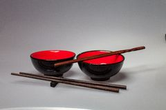 Two Chinese rice bowls with sticks, Stock Images