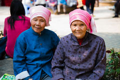 Two Chinese senior woman portrait Royalty Free Stock Image