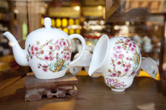 Two chinese tea pot in the tea house Stock Photos