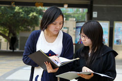 Two Chinese university students on campus. They are discussing homework and presentations on campus, working very hard. They look very smart Royalty Free Stock Photos