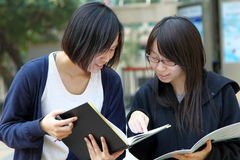 Two Chinese university students on campus. They are discussing homework and presentations on campus, working very hard. They look very smart Royalty Free Stock Photo