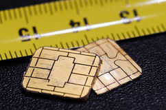 Two chips broken out from smart cards Stock Photography