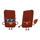Two chocolate bar characters, in sunglasses and holding cocoa bean Stock Photos