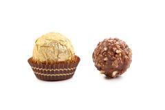 Two chocolate bonbons. Stock Image
