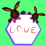 Two chocolate bunny with frame in hands, cartoon on white background. Stock Image