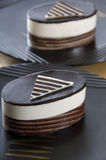 Two Chocolate Cakes. Two mini white and dark chocolate cakes Royalty Free Stock Photo