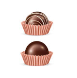 Two chocolate candy pieces isolated on white Royalty Free Stock Photography