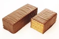 Two chocolate coated waffle bars Stock Photo