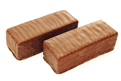 Two chocolate coated waffle bars Stock Images