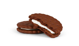 Two chocolate cookies isolated on white background Stock Image