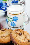 Two chocolate cookies and milk Royalty Free Stock Image