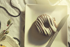 Two chocolate covered donuts. In black and white royalty free stock images