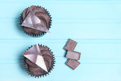 Two chocolate cupcakes with chocolate pieces Royalty Free Stock Photography