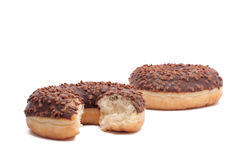 Two chocolate donut is broken half. Cut donut peach Stock Photography