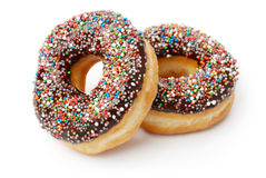 Two Chocolate Donuts with Sprinkles. Royalty Free Stock Image