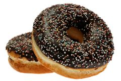 Two Chocolate Donuts with Sprinkles Royalty Free Stock Photos
