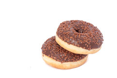 Two Chocolate Donuts with Sprinkles. Isolated on a White Background.  stock photos