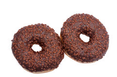 Two Chocolate Donuts with Sprinkles. Isolated on a White Background.  stock images