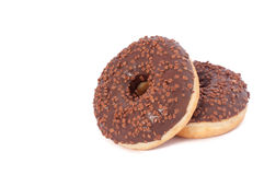 Two Chocolate Donuts with Sprinkles. Isolated on a White Background Stock Image